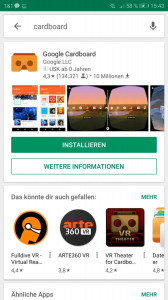 offizielle Cardboard App bei Google Play